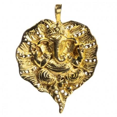 Pendant Ganesh leaf gold colour