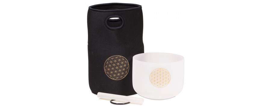 Crystal Singing Bowls Quartz Crystal White & safety bag