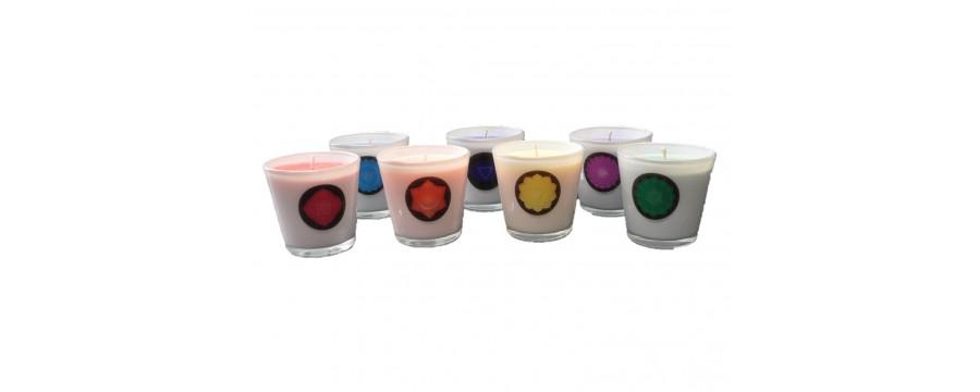 Ecologische Stearine Kaarsen in glas Chakra Symbolen