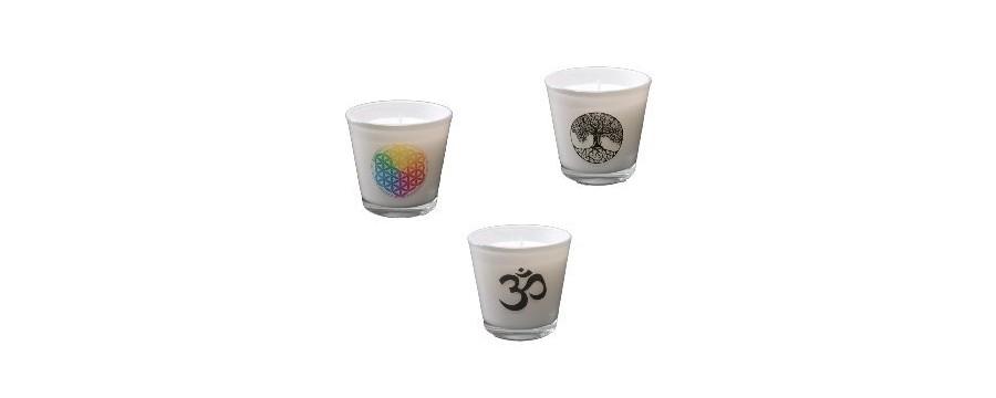 Ecologische Stearine Kaarsen in glas met symbolen